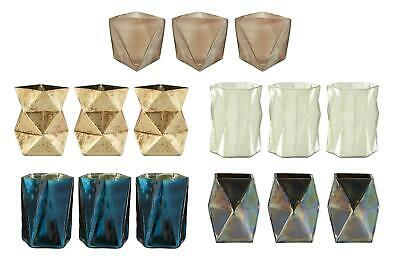 The Rambia Pink Lustre, Blue, Oil Slick & Gold Finish Glass Candle Holders