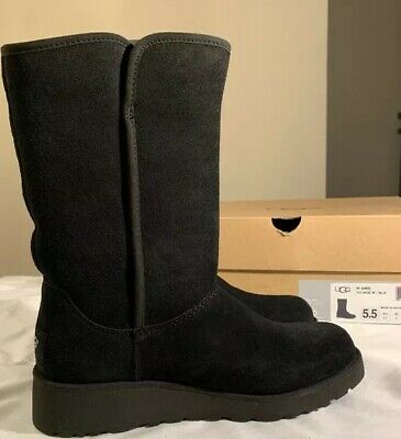 d16ce3f84a8 UGG AMIE CLASSIC Slim Wedge Black Suede Water Resistant Women's ...