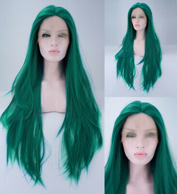 """AU 24"""" Silky Straight Handtied Synthetic Hair Green Lace Front Wig Cosplay"""