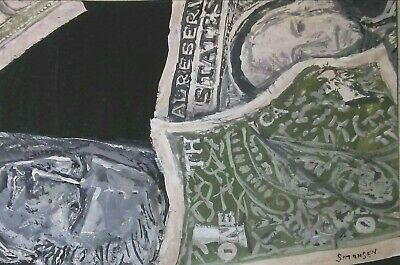 "ORIGINAL ACRYLIC  PAINTING ACEO ""CASH FLOW"" Signed by artist"