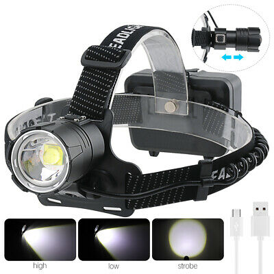 80000lm XHP70 LED Headlamp USB Rechargeable Head Flashlight 18650 Zoomable Lamp