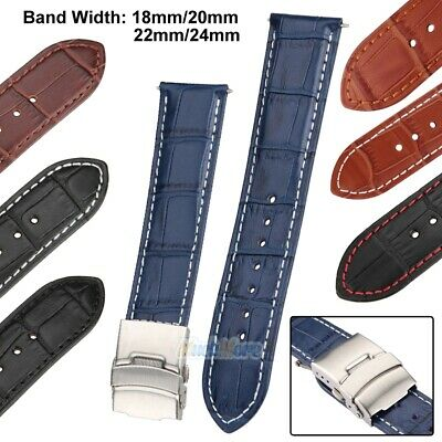 Mens Genuine Leather Watch Strap Band Croco Deployment Clasp with Spring Bars