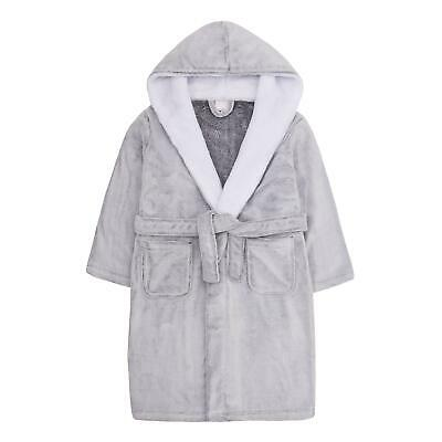 Girls Frosted Grey Robe / Dressing Gown with Snuggle Trim ~ 7-13 Years