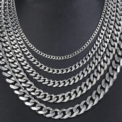"""18""""-36"""" Stainless Steel Silver Tone Chain Cuban Curb Mens Necklace 5/8/10/12mm"""