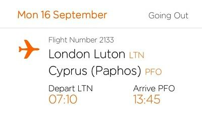 Two Easyjet flight tickets from London Luton-Paphos Cyprus 16th September 2019