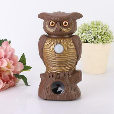 Owl Hawk Hunting Decoy Deterrent Scarer Repeller Lawn LED Light Garden Decor