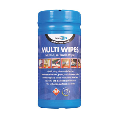 Bond It Multi Wipes Anti Bacterial Hand Tool & Surface Cleaning Wipes Tub of 100