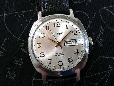 Vintage Rare Old Slava Automatic 27 Jewels Made in USSR Men's Russian Wristwatch
