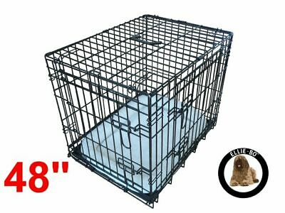"Ellie-Bo 48"" XXL Deluxe Dog Puppy Pet Cage Carrier Crate In Black"