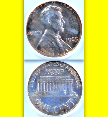 1965 PCGS MS65 Cent on Dime █ Transitional █ Rare/Undervalued Error ◉ Lincoln 1C