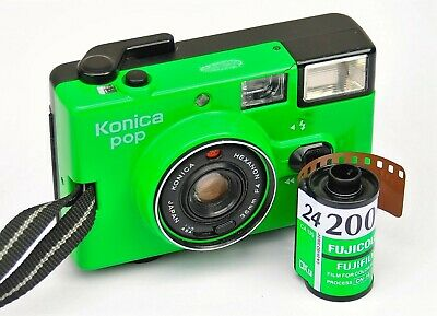 Konica Pop  In Rare Lime Green Point And Shoot Compact 35mm Camera + Fuji Film