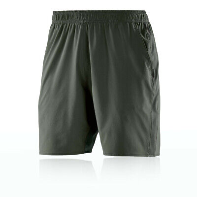 """Skins Mens Activewear Square 7"""" Running Shorts Pants Trousers Bottoms Green"""