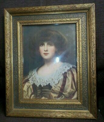 Antique Arts & CRAFTS Woman Print Gold Small WOOD Frame 5.5 x 7.5 in. fit c1900s