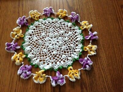 2 Vintage Crocheted Doilies Pansy Edged White Center -  Round and Oblong