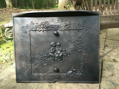 Antique Cast Iron Victorian Fireplace Cover Cherub Motif Rare