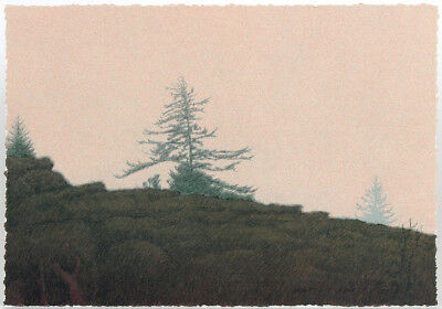 """Small Russell Chatham Original lithograph """"Tamalpais in the Fog"""" S/N, 2001"""