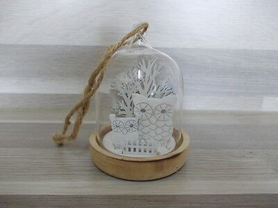 Nice modern glass dome bell owl wooden natural white hang up