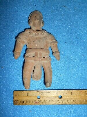 Ancient Precolumbian Figure Man on Bed. Approx. 3 x 1 1/2 wide ABA-16071