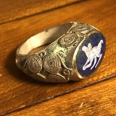 Middle East Blue Stone Intaglio Silver Toned Signet Ring Ancient Islamic Antique