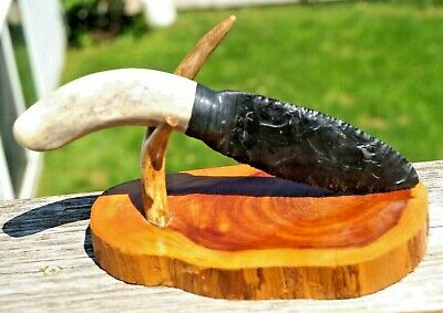 Flint Knapping Art MUST SEE DACITE Signed Sinew Wrapped Knife Arrowhead W/ Stand