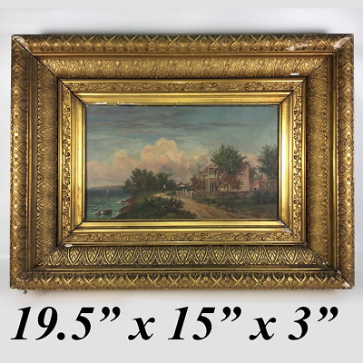 """Antique Artist Signed French Oil Painting, c.1882, Fontainebleau School, 19.5"""""""
