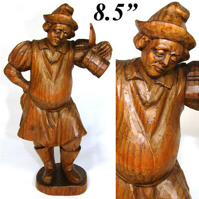 """Vintage Black Forest Anri Style Carved Wood Figure, 8.5"""" Tall Gent w/ Beer Stein"""