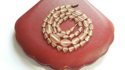 Czech Vintage Art Deco Rosaline Graduated Oval Frosted Glass Bead Necklace
