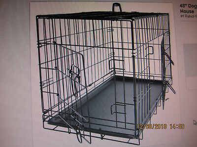 2 Door Black Pet Folding Cage Kennel with ABS Tray LC 48-Inch