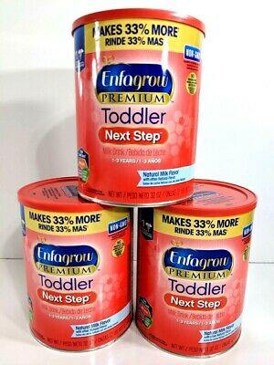 (3) Enfagrow Premium Toddler Next Step, Natural Milk Flavor - Powder Can - 32 oz
