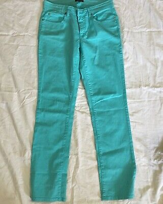 Eileen Fisher Size 6 Aqua Blue Straight leg Jeans Women's Organic Cotton Midrise