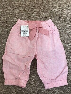 Next Girls 18-24 Months 1.5-2 Years Linen Shorts Cropped Trousers Pink