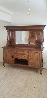Mirrored Buffet Dresser sideboard. Regency style. Hardwood. Carved features.