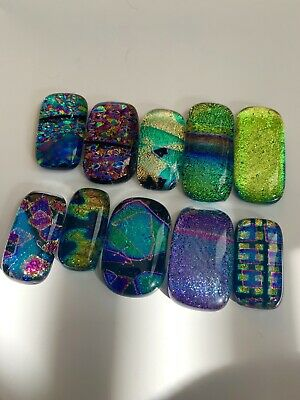 10 Handmade Dichroic Fused Glass Cabochons Jewellery/Mosaic #35 -seconds