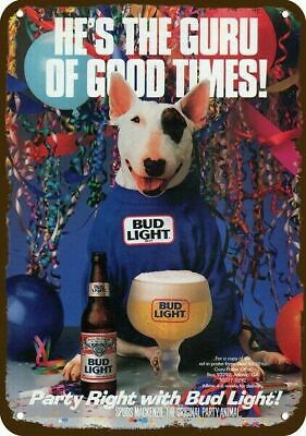 1988 BUD LIGHT BEER BUDWEISER Vintage Look REPLICA METAL SIGN - SPUDS MACKENZIE