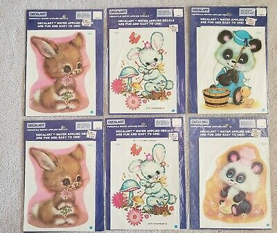 Vintage 1980's MEYERCORD DECALART Water Applied Decals Nusery Animals Lot-of'6