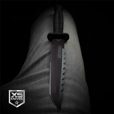 "Hunt-Down 11.75"" BLACK Tactical Combat TANTO Survival DAGGER Hunting BOWIE Knife"