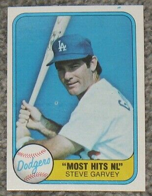 1981 Fleer Steve Garvey Baseball Card 606 Dodgers Most Hits Nl
