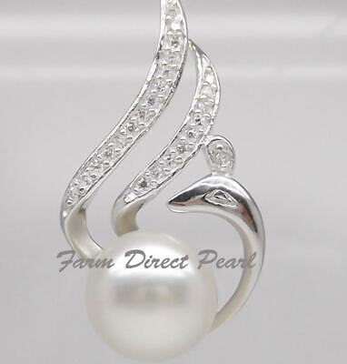 """STERLING SILVER 18/"""" Genuine White Pearl Pendant Necklace Cultured Freshwater 456"""