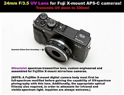 24mm F/3.5 UV lens for Fuji X (X-mount) APS-C cameras! Ultraviolet photography!