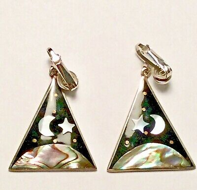 Vintage signed Alpaca Mexico clip earrings abalone moon star planet