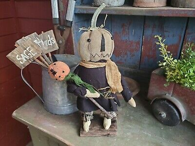 Primitive White Pumpkin Doll~Halloween~Fall~Harvest