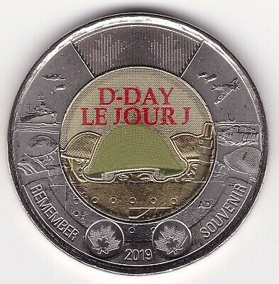 Colored AU 2019 D-Day Commemorative Canada 2 Dollar Coin