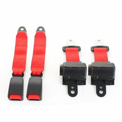 2Sets 2 Point Fixed Safety Belt Lap Strap Seatbelt Buckle Clip Red Retractable