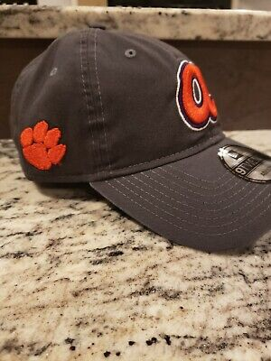 BRAND NEW Clemson & Atlanta Braves Baseball Hat Official charcoal 2019 suntrust
