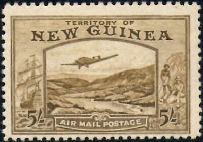 New Guinea 1939  Air Mail  5/- Olive-Brown   SG.223  Mint (Hinged)    Cat:£190
