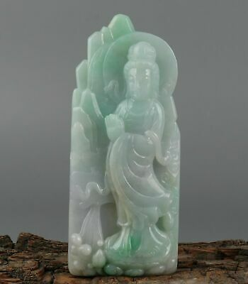 Chinese Exquisite Hand-carved Guanyin Carving jadeite jade statue