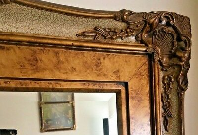 """Antique Vtg Ornate Hollywood Regency Style Baroque Hanging Wall Mirror 43"""""""