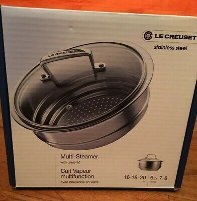 NIB Le Creuset Stainless Multi-Steamer with Glass Lid ,Fit 16, 18, 20 cm
