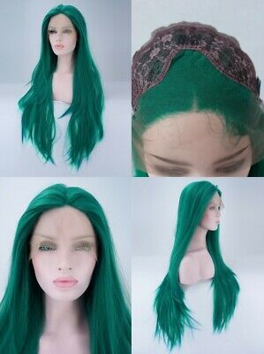 """AU 24"""" Green Synthetic Fiber Hair Lace Front Wig Women Handtied Straight"""