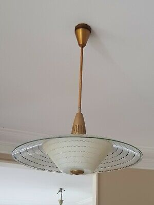 Vintage /Retro Glass Ceiling Lights x 2.1950's Made in Australia.